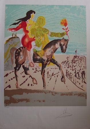 Litografía Dali - New Jerusalem - Femme à cheval