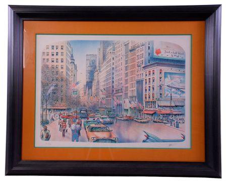 Litografía Rafflewski - New York 5th Avenue