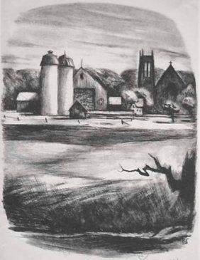 Litografía Spruance - Newtorn Towers
