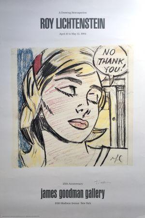 Litografía Lichtenstein - 'No Thank You!' Hand Signed Exhibition Poster
