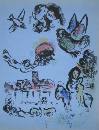 Litografía Chagall - Nocturne in Vence