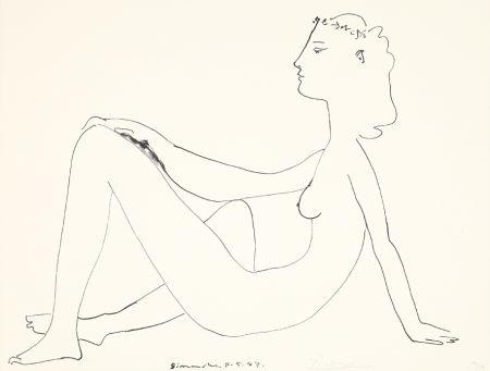 Litografía Picasso - Nu assis, de profil