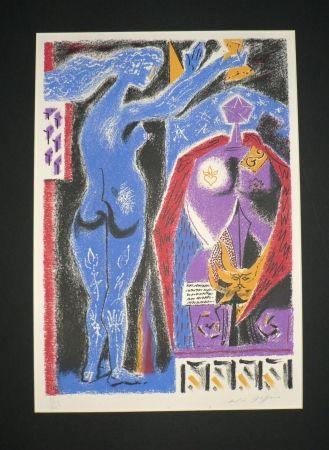 Litografía Masson - Nu Bleu