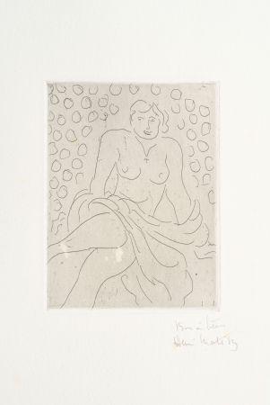 Grabado Matisse - Nu drapé sur fond composé de cercles