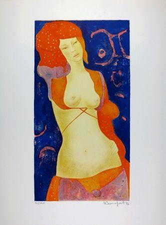 Litografía Bonnefoit - Nu Orange / Orange Nude