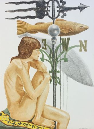 Litografía Pearlstein - NUDE MODEL WITH BANNER AND FISH WEATHERVANE