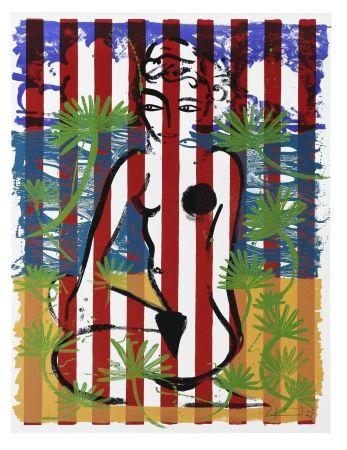 Serigrafía Szczesny - Nude on Red Stripes