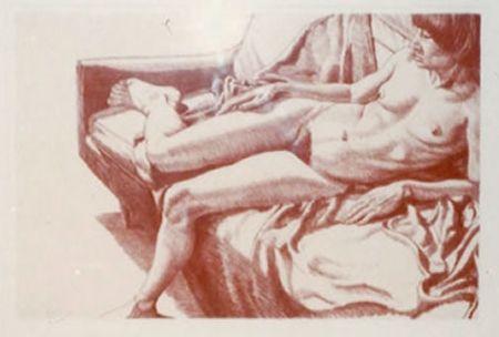 Litografía Pearlstein - Nude on Sofa Draped