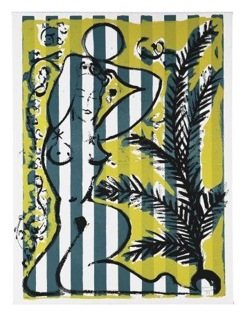 Serigrafía Szczesny - Nude with Palms on Green Stripes