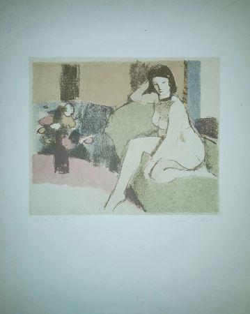 Litografía Salvadori - Nudo sul divano