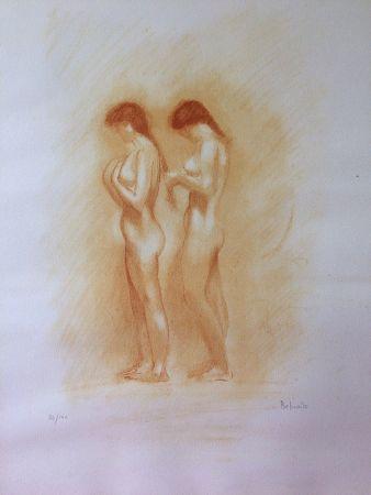 Litografía Belmondo - Nus. Lithographie à la manière de la sanguine.