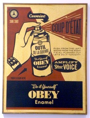Serigrafía Fairey - Obey Coup D'Etat (on wood)