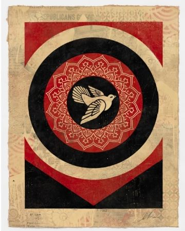 Serigrafía Fairey - Obey Dove Black