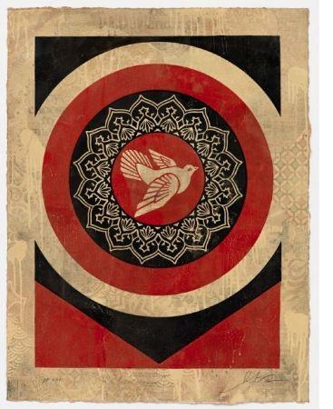 Serigrafía Fairey - Obey Dove Red