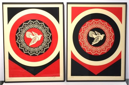 Serigrafía Fairey - Obey Dove Red & Black Set
