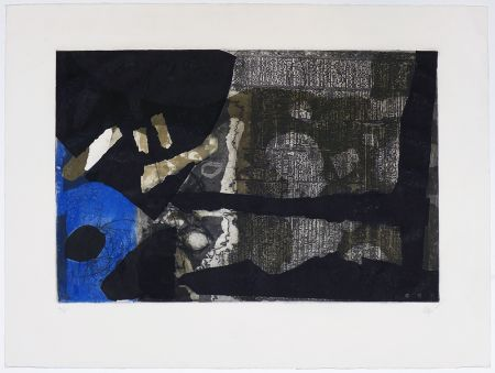Grabado Clavé - Ocre, noir et bleu