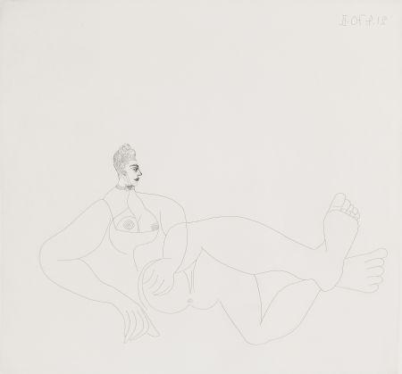 Aguafuerte Picasso - Odalisque au collier de chien