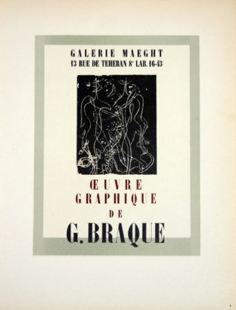Litografía Braque - Oeuvre Graphique  Galerie Maeght