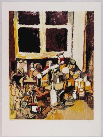 Litografía Guttuso - Oggetti sul tavolo e finestra di sera