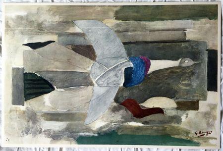 Litografía Braque - Oiseau en vol (1953)