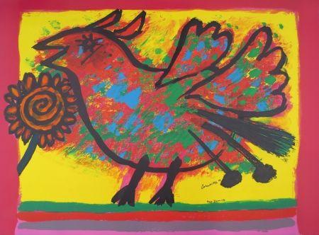 Litografía Corneille - Oiseau multicolore
