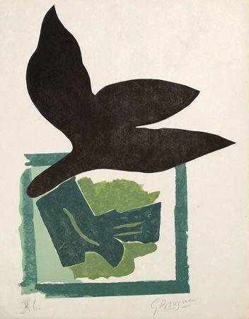 Grabado En Madera Braque - Oiseau noir sur fond vert