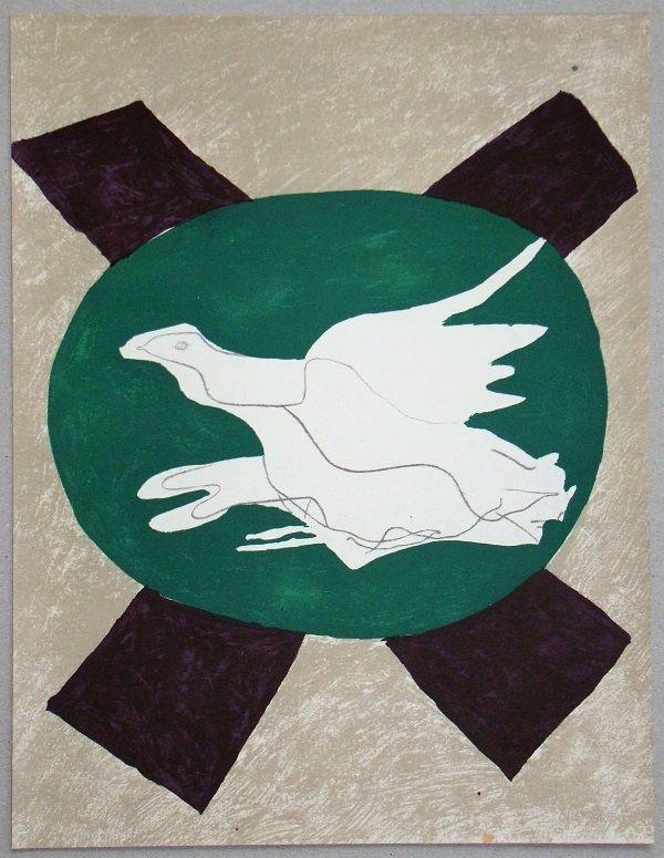 Litografía Braque - Oiseau sur fond de X