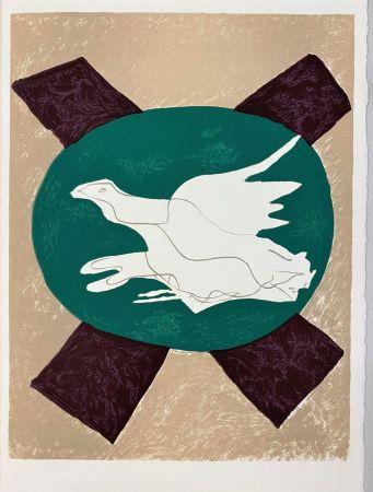 Litografía Braque - Oiseau sur fond X