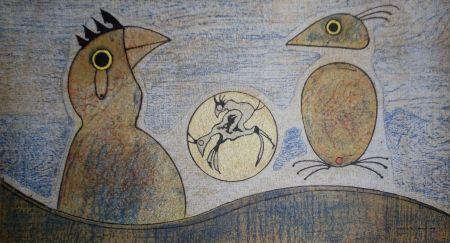 Litografía Ernst - Oiseaux