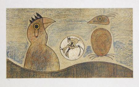 Litografía Ernst - Oiseaux Souterrains