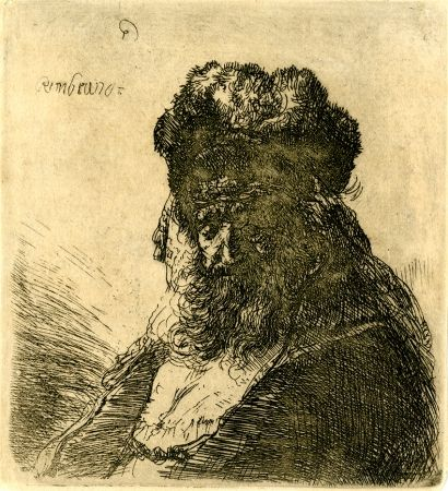 Grabado Rembrandt - 	Old Bearded Man in a High Fur Cap, with Eyes Closed, c. 1635
