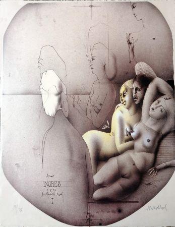 Litografía Wunderlich - Omaggio a Ingres