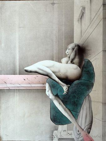 Litografía Wunderlich - Omaggio a Michelangelo