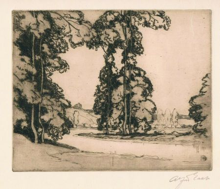 Grabado East - On the Banks of the Seine