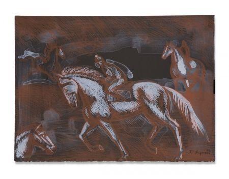 Litografía Anguiano - Onyx Horses