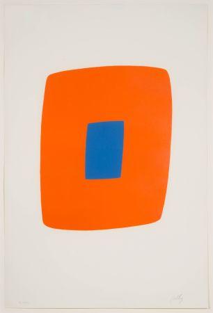Litografía Kelly - Orange with Blue