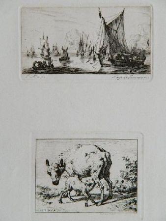 Grabado Meryon - Pêcheurs de la mer du sud (after Zeeman) [with] La brebis et les deux agneaux (after Van de Velde)