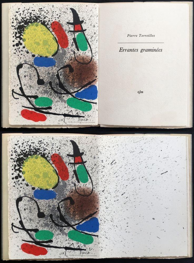 Libro Ilustrado Miró - P. Torreilles : ERRANTES GRAMINÉES. Lithographie originale signée (1971).
