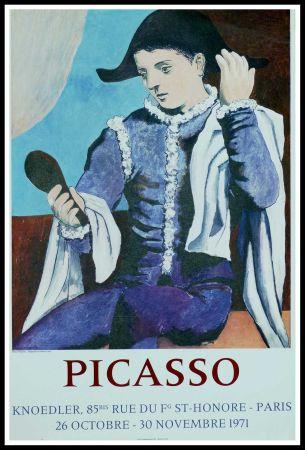 Cartel Picasso - PABLO PICASSO GALERIE KNOEDLER L'ARLEQUIN AU MIROIR