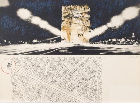 Litografía Christo - PACKED BUILDING PROJECT FOR THE ARC DE TRIOMPHE PARIS