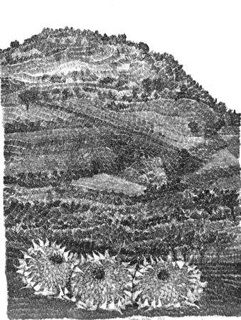 Aguafuerte Gulino - Paesaggio con girasoli
