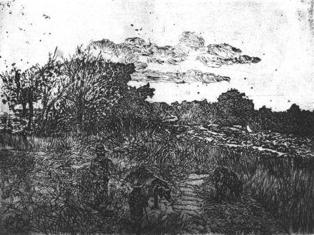 Aguafuerte Fattori - Paese al tramonto (con guardiani di porci)