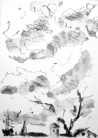 Litografía De Pisis - Paese antico