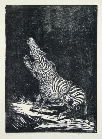 Grabado En Madera Klemm - Panther und Zebra