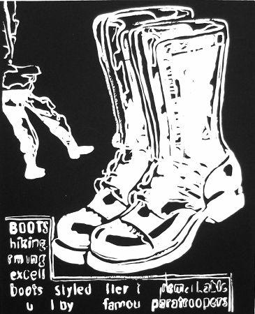 Serigrafía Warhol - Paratrooper Boots Negative