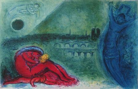 Litografía Chagall - Paris - Quai de la Tournelle