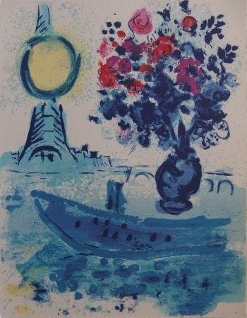 Litografía Chagall - Paris : Bateau mouche au bouquet  - La Seine