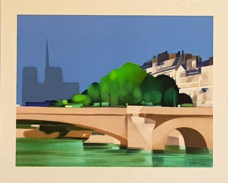 Litografía Defossez - Paris  Pont de la Tournelle
