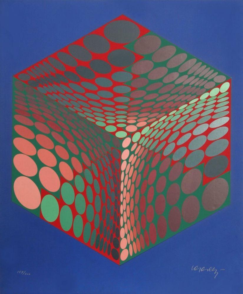 Serigrafía Vasarely - Parmenide (Red, Green, & Blue)