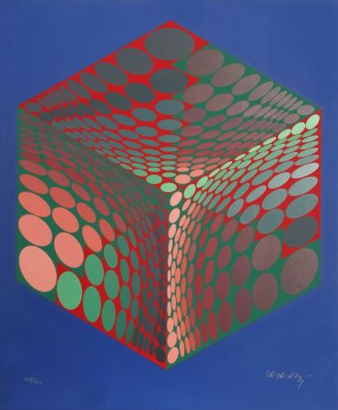 Serigrafía Vasarely - Parmenide (Red, Green, & Blue)